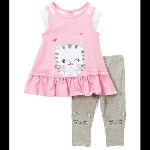 Nannette Pink Cat Swing Top/Gray Cat Face Leggings
